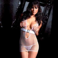 Fantasy Lingerie Belted Fishnet Halter Dress & G-String White