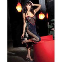 Fantasy Lingerie Heart Cut-Out Long Dress Gown with Fishnet Side Panels