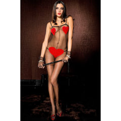Music Legs Spandex Sheer Crotchless Body Stocking with Red Heart Detail