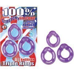 Nasstoys Super Strechy Silicone Triple Cockrings Purple