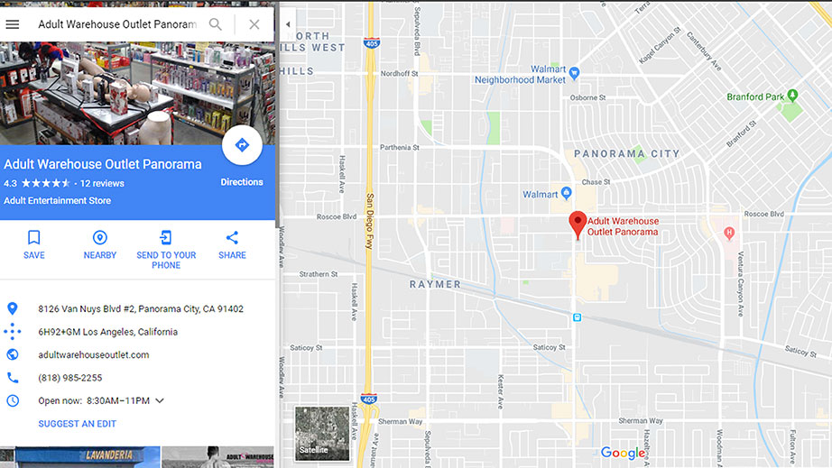 Adult Warehouse Outlet Panorama City Map
