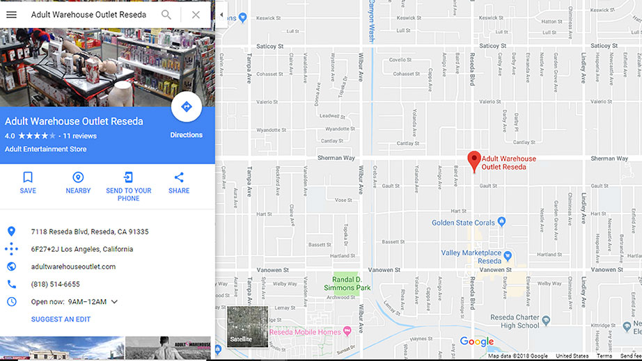 Adult Warehouse Outlet Reseda Map