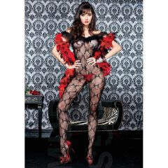 Music Legs Bow lace ruffle off the shoulder crotchless bodystocking