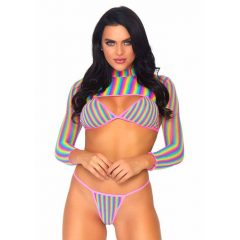 Leg Avenue Rainbow Fishnet Top Set - Front