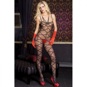Music Legs Criss Cross Print Spandex Crotchless Bodystocking