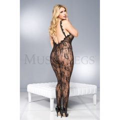 Music Legs Plus Size Lace Crotchless Bodystocking with Lace Trim Back