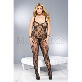 Music Legs Plus Size Lace Crotchless Bodystocking with Lace Trim