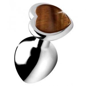 Gemstones Tiger's Eye Heart Large Anal Plug
